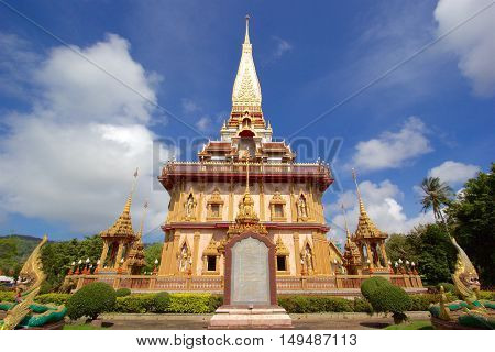 Front view of biggest pagoda of Chalong Temple Phuket Thailand