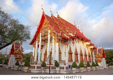 An old style Thai Buddhist Church, one of nice pagoda of Chalong temple, Phuket Thailand
