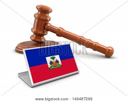 3D Illustration. 3d wooden mallet and Haitian flag. Image with clipping path