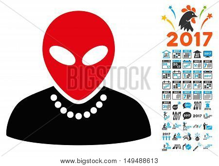 Humanoid icon with 2017 year bonus vector pictograms. Design style is flat symbols white background.