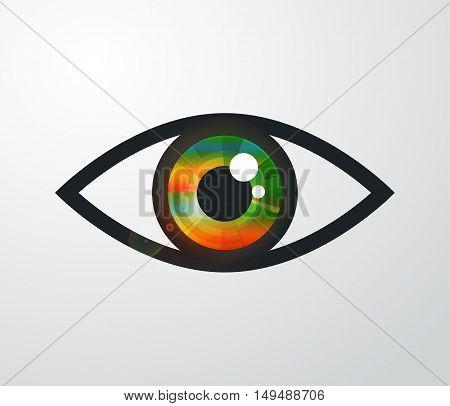 Vector abstract color eye design. Hi-tech concept