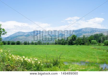 Landscape of the Pyrenees mountains and fields on a summer day near the French boarder, in Puigcerda, Girona, Catalonia, Spain