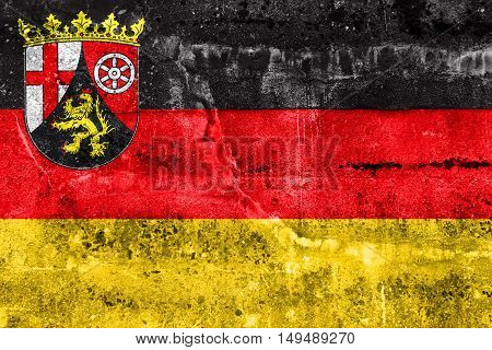 Flag Of Rhineland-palatinate, Germany, Painted On Dirty Wall