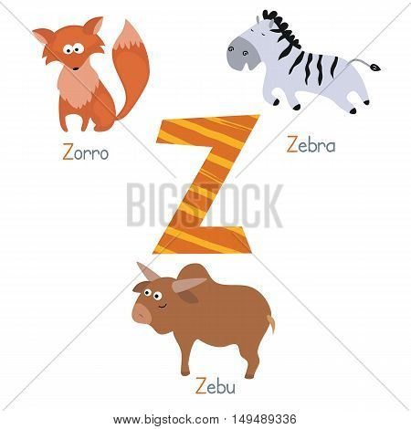Cute vector zoo alphabet. Funny cartoon animals: zorro zebra zebu.