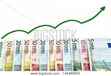 Euro banknotes on white background. Currency exchange rate concept.