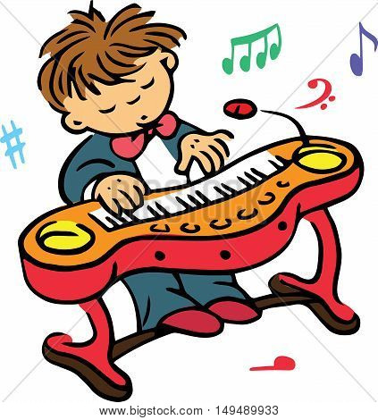 Hand drawn. Vector illustration. The boy who plays on the clavier.