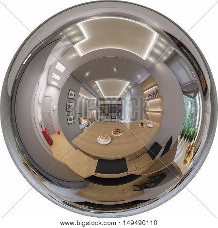 Rendering Seamless Panorama Of  Living Room Interior