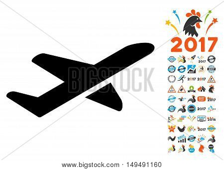 Takeoff icon with 2017 year bonus vector pictograms. Design style is flat symbols, white background.