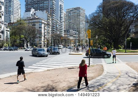 Buenos Aires Argentina - October 5 2013: People in a street in the city of Buenos Aires in Argentina