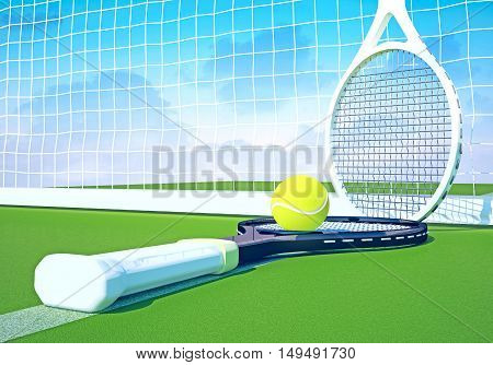Tennis rackets and balls are located against the background of the sky and the tennis court. 3D illustration