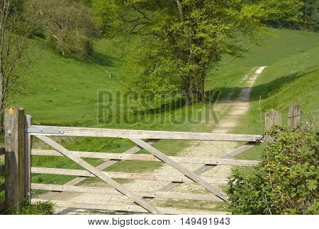 Country track with a five bar gate across it. West Sussex England