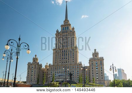 Moscow, Russia - May 14.2016. The hotel Radisson Royal Hotel, one of the seven Stalin skyscrapers