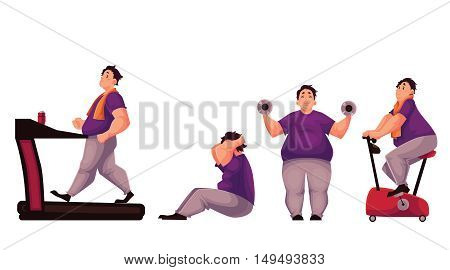 Fat man doing sport exercises, cartoon vector illustration isolated on white background. Obese, fat, chubby man doing treadmill walking, cycling, sit ups and dumbbell exercises. Fat man getting fit
