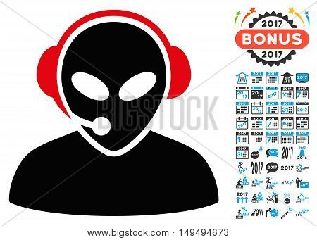 Alien Call Center icon with 2017 year bonus glyph design elements. Clipart style is flat symbols, white background.