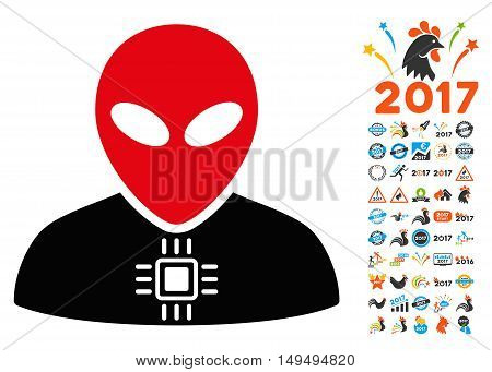 Alien Cyborg icon with 2017 year bonus glyph pictographs. Collection style is flat symbols, white background.