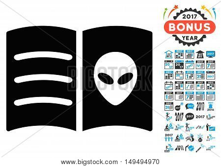 Alien Face Book icon with 2017 year bonus glyph design elements. Clipart style is flat symbols, white background.