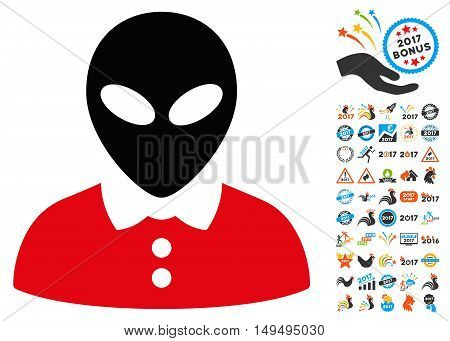 Alien Female icon with 2017 year bonus glyph pictograms. Set style is flat symbols, white background.