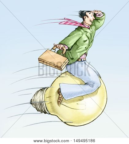 a man riding on a light bulb as munchausen rides the cannonball