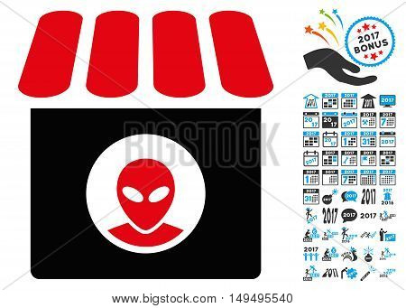 Alien Shop icon with 2017 year bonus glyph pictograms. Clipart style is flat symbols white background.
