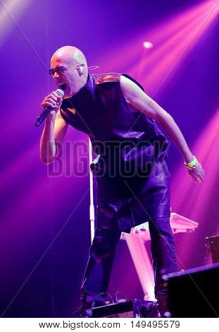 NEWPORT, ISLE OF WIGHT UK - September 12 2016: Phil Oakley, lead singer with The Human League performing on stage at Bestival festival