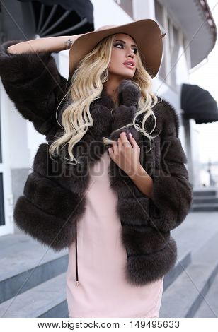 Gorgeous Woman With Blond Hair In Luxurious Fur Coat And Hat