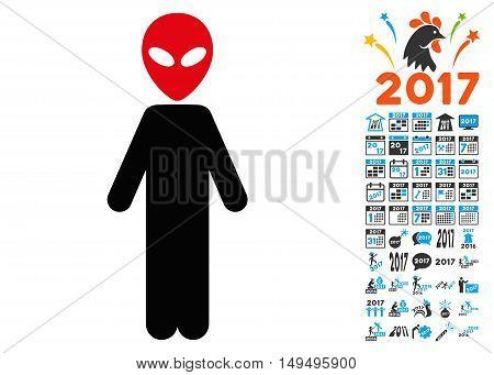 Alien icon with 2017 year bonus glyph pictographs. Set style is flat symbols, white background.