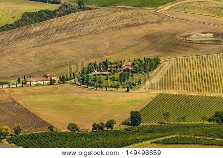 Landscape in Val d'Orcia at autumn near Siena Tuscany Italy