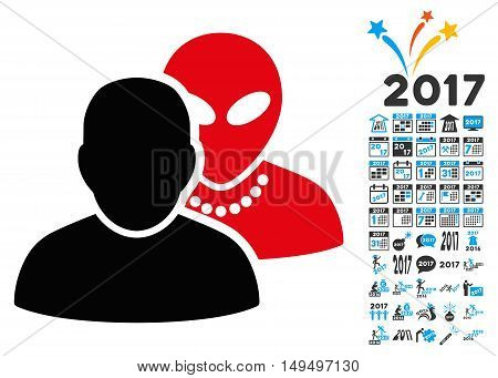 Human Alien Contacts icon with 2017 year bonus glyph pictographs. Collection style is flat symbols, white background.