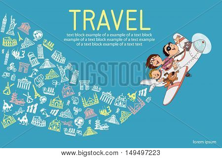 infographics. Cartoon family flying on an airplane. Everyone is happy and cheerful. hand drawing. Set travel icons.