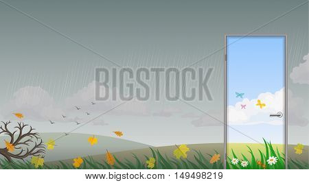 The door leading into the summer on a background of bleak autumn rainy weather. Vector graphics