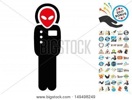 Visitor Skafandr icon with 2017 year bonus glyph pictographs. Set style is flat symbols, white background.