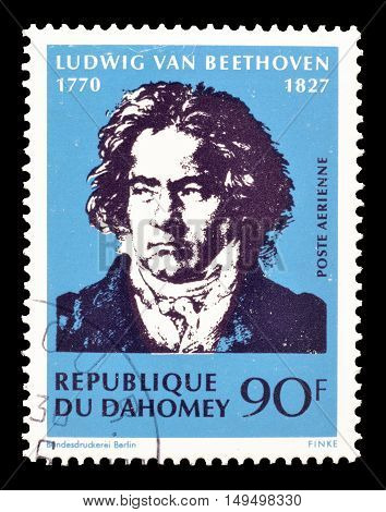 DAHOMEY - CIRCA 1970 : Cancelled postage stamp printed by Dahomey, that shows Ludwig Van Beethoven.