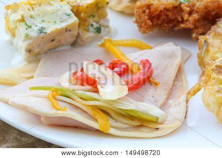 Breakfast set chicken salami hash brown toast slice pastry