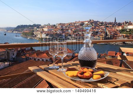 Table with view a wonderful view over the river in Porto Portugal.