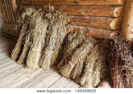 Hay Sheaves In Old Wooden Barn Interior