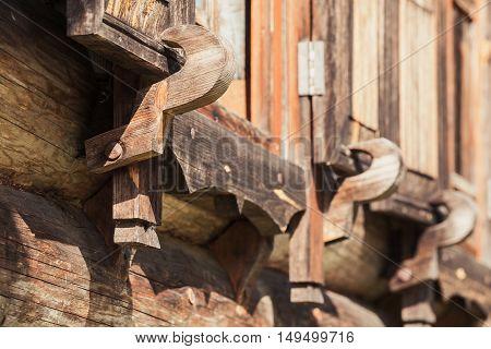 Wooden Shutters Latch, Close Up