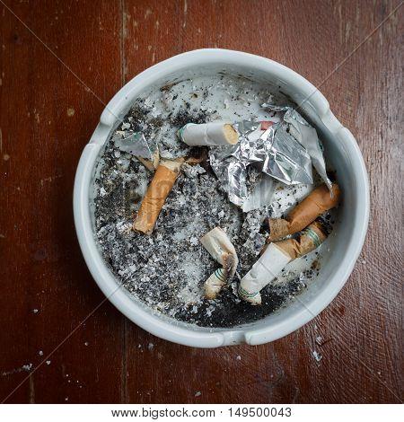 cigarette stub in ashtray image no smoking concept background