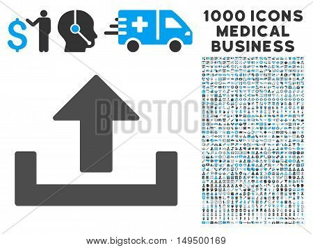 Upload icon with 1000 medical commerce gray and blue vector pictographs. Design style is flat bicolor symbols white background.