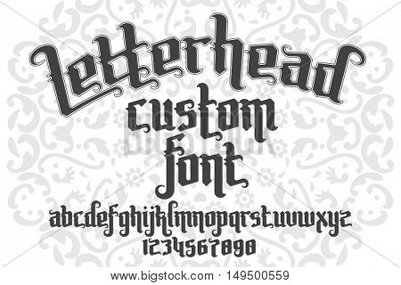 Letterhead custom Font on round pattern background. Gothic type letters and numbers. Stock vintage vector typography for labels, headlines, posters, tattoo etc.