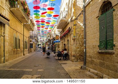 Street, Decorated With Colorful Umbrellas, Jerusalem