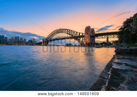 Sydney Harbour and Sydney Harbour Bridge NSW Australia at night