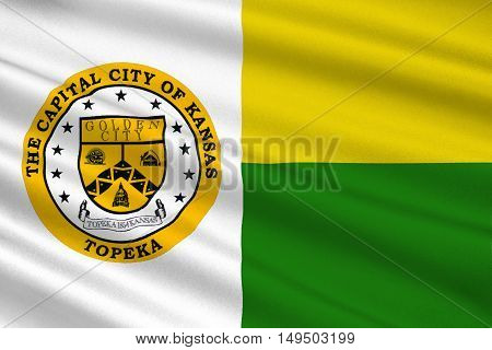 Flag of Topeka is the capital city of the State of Kansas United States. 3D illustration