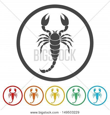 Scorpion icon set on white background, six colors