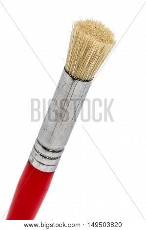 Paint brush with natural bristles close-up isolated on white background