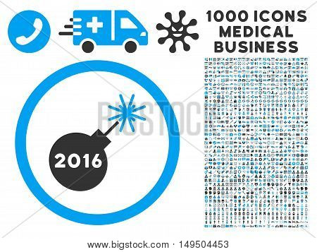 2016 Petard icon with 1000 medical commerce gray and blue glyph pictograms. Collection style is flat bicolor symbols white background.