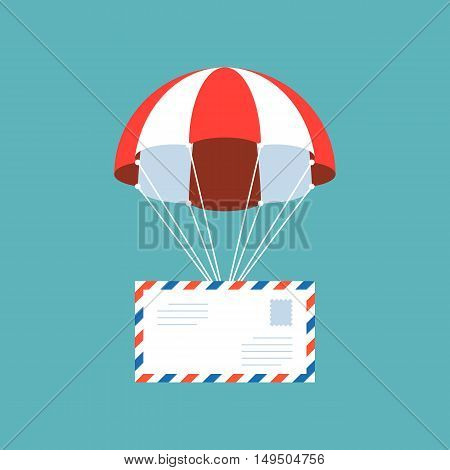 airmail, envelope with parachute, delivery service concept, flat design poster