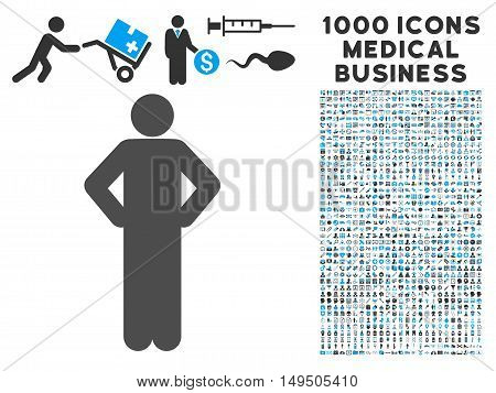 Akimbo Pose icon with 1000 medical commerce gray and blue glyph pictographs. Clipart style is flat bicolor symbols white background.