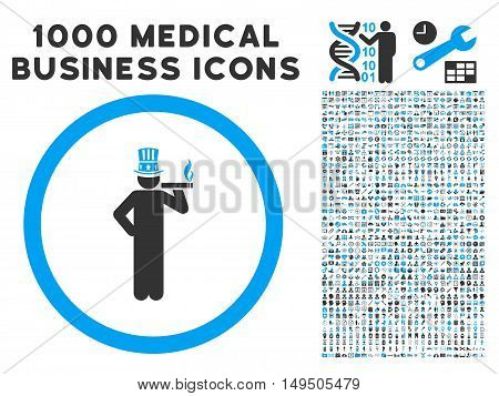 American Capitalist icon with 1000 medical business gray and blue glyph design elements. Clipart style is flat bicolor symbols white background.