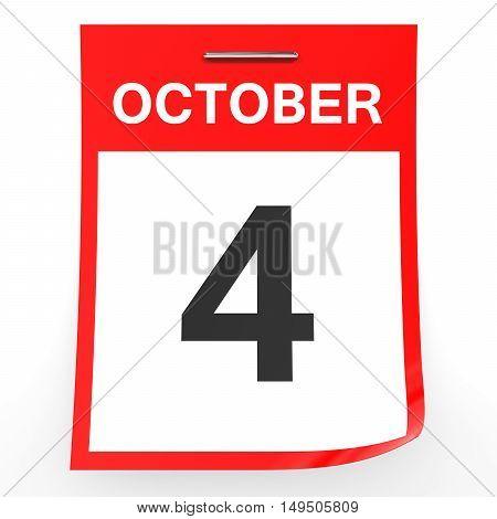 October 4. Calendar On White Background.