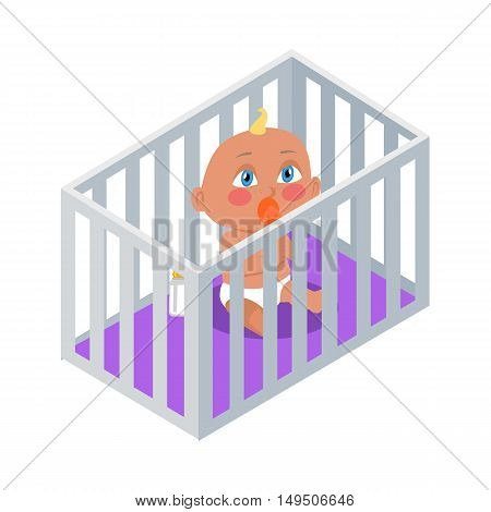 Baby sitting in the bassinet with dummy. New born child. Education of a child during the first year. Parenthood concept. Nursery, education at home. Part of series of lifelong learning. Vector